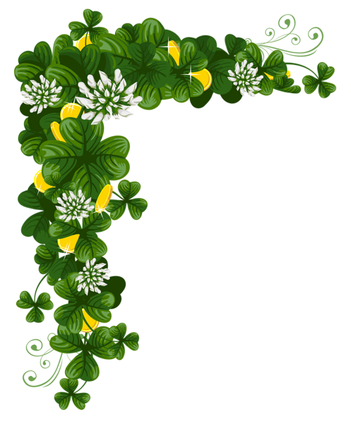 St Patricks Day Shamrocks With Coins Png Clipart St Patricks Day Clipart Picture Borders St Patrick