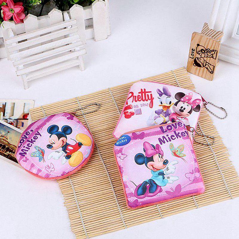 XZHJT 새로운 2016 여성 봉제 동전 변경 지갑 만화 귀여운 미니 미키 지퍼 미니 어린이 가방 지갑 소녀 선물