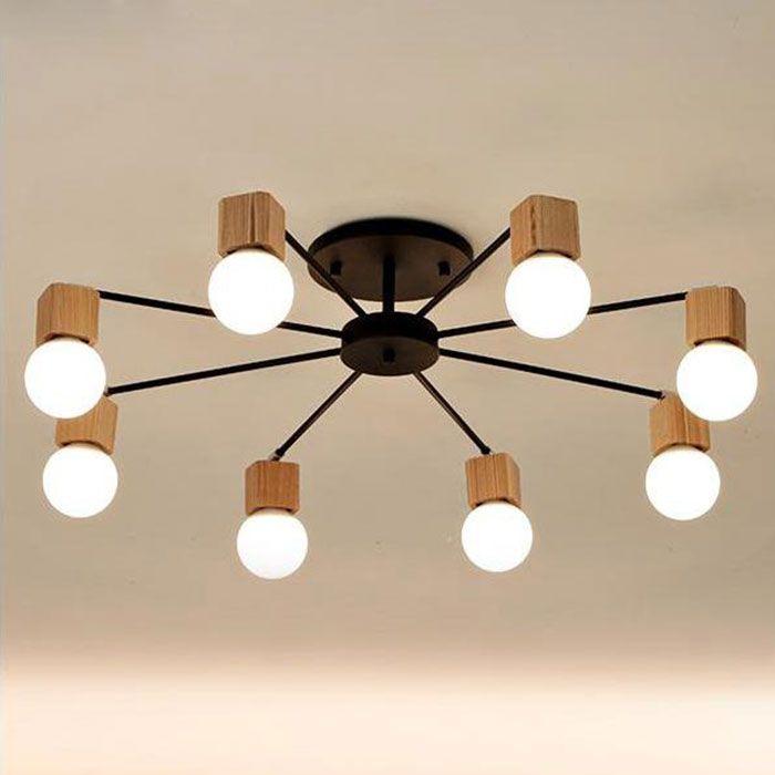 Modern wood LED ceiling chandelier Black White living room bedroom