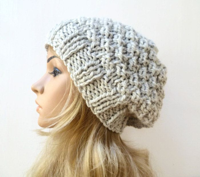 Super Chunky Slouchy Beanie - Women Wool Alpaca Hat - Silver Grey Hand  Knitted Slouch Beanie - Fall Winter Slouchy Hat - ClickClackKnits by  Clickclackknits ... 4c7c98316682