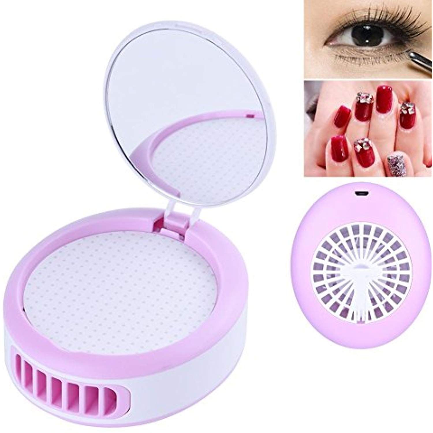 Mini Fan with Makeup Mirror USB Rechargeable Cooling Fan