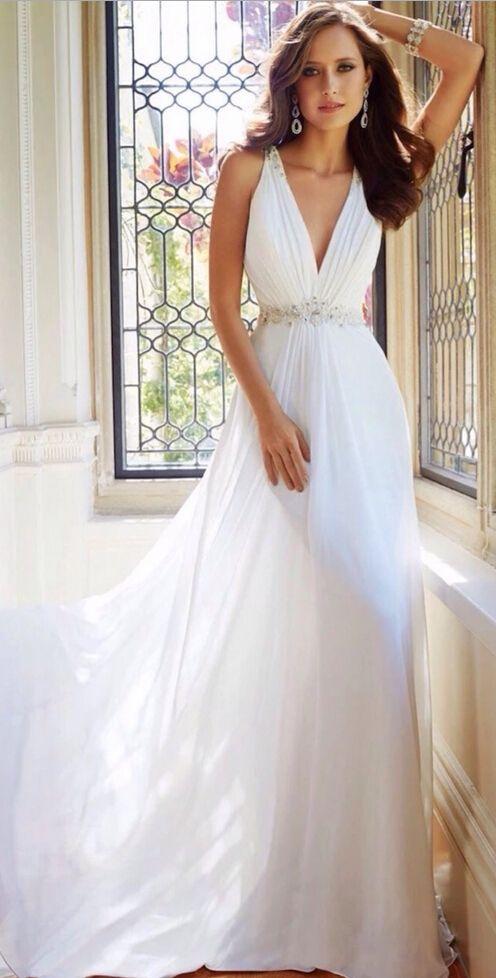 White Chiffon V Neck Wedding Dress Sophia Tolli Wedding Dresses Wedding Dresses Bridal Dresses