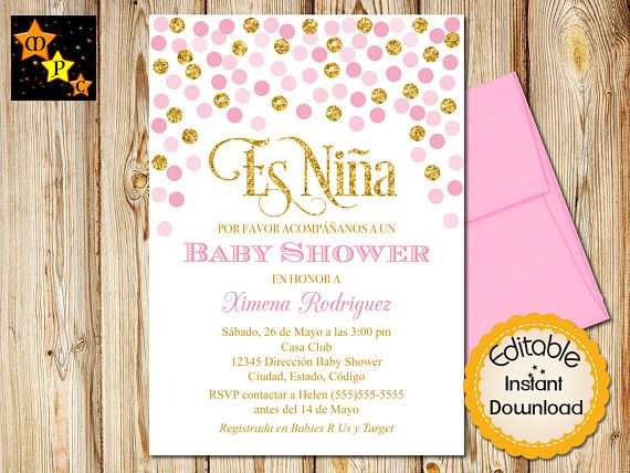 Spanish Pink And Gold Baby Shower Invitation Girl Instant Download