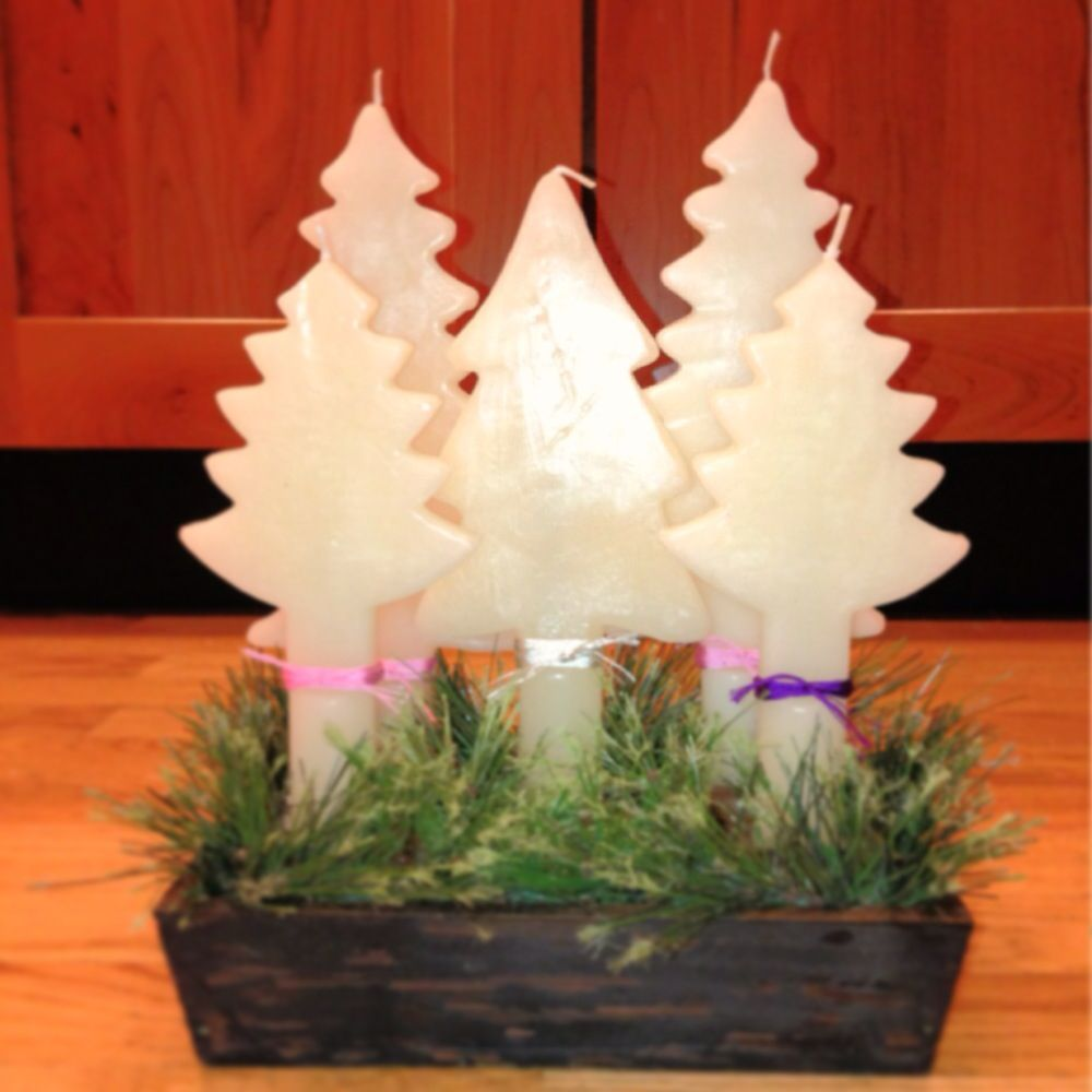 """My """"not quite like mom's"""" Advent Wreath. More like an Advent Candle Cluster. : )    Candles from Crate & Barrel."""