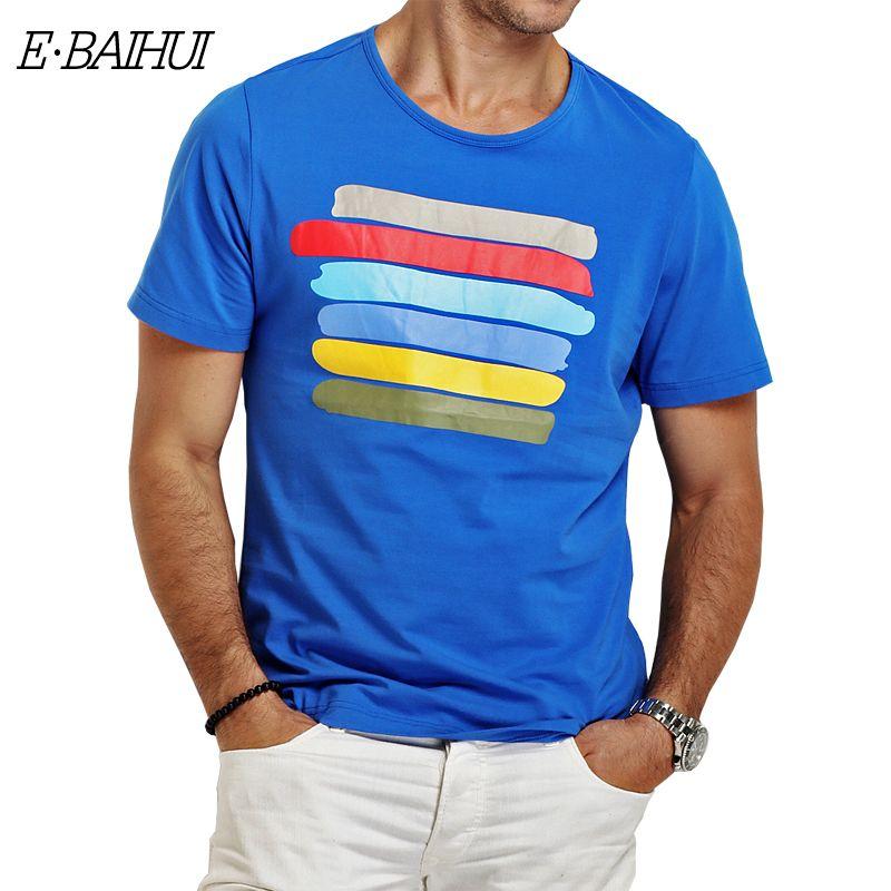 f275c8418506 E-BAIHUI brand Summer style cotton mens t shirt Clothing Slim T-shirt casual.  Men s Tops ...