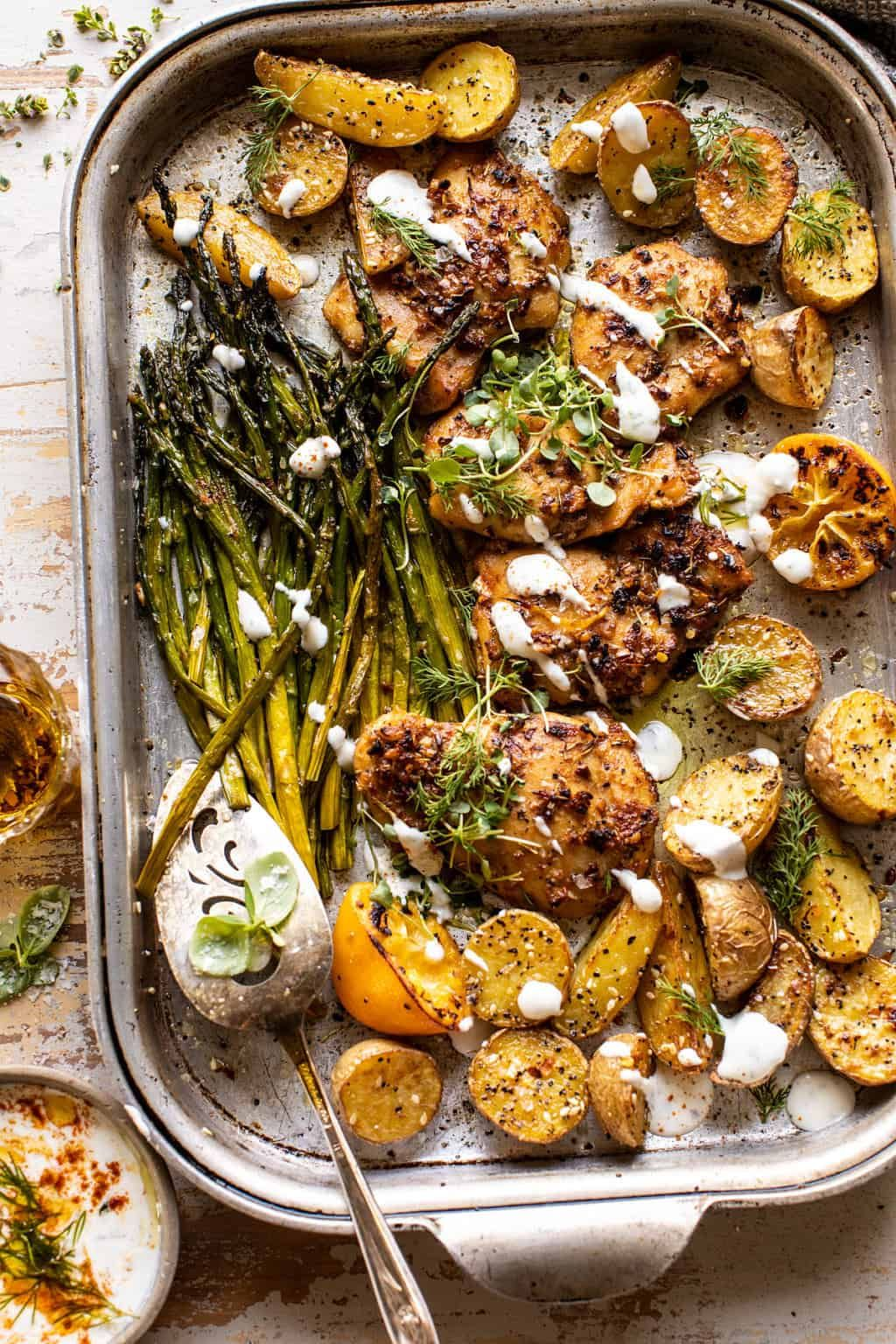 Sheet Pan Lemon Rosemary Dijon Chicken and Potatoe