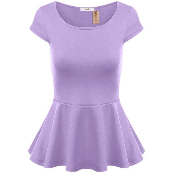 Simlu Short Sleeve Womens Peplum Shirt Reg. and Plus Size Peplum Top... (120 SEK) ❤ liked on Polyvore featuring tops, plus size purple top, peplum shirt, short sleeve shirts, plus size tops and shirt tops