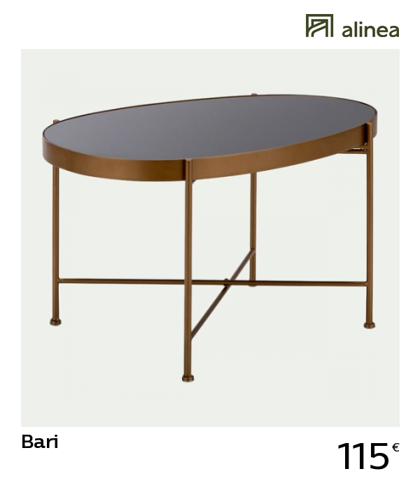 Alinea Bari Table Basse En Acier Doree Avec Plateau En Verre Noir Meubles Salon Tables Basses Et D Appoint Table Basse Acier Plateau En Verre Table Basse