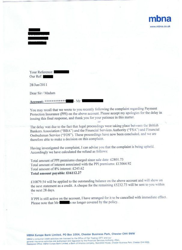 claim back thousands for unfair payment protection insurance www - service letter format