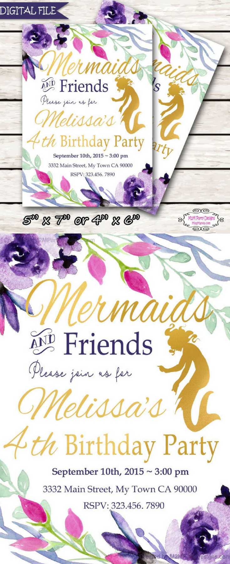 Mermaid Birthday Party Invitation | Mermaid Party Invitation | Pool ...
