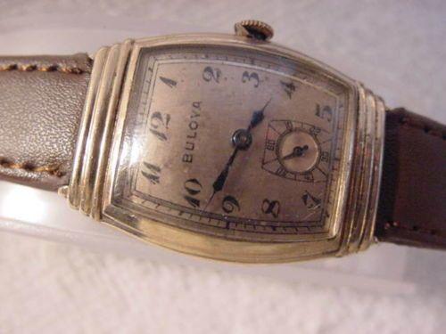 Vintage-PINK-GOLD-FD-large-antique-Art-Deco-BULOVA-CURVEX-mens-watch-NR