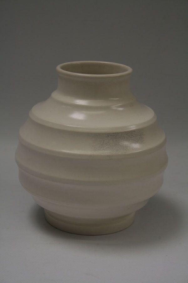 Wedgwood Keith Murray Cream Vase With Ribbed Body Art Ceramics