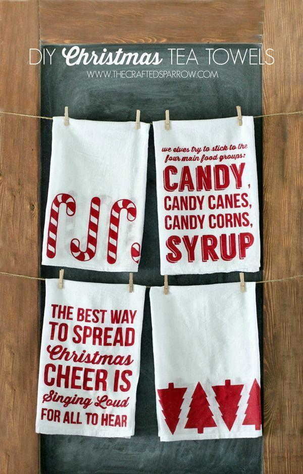 Cricut Christmas Crafts Part - 30: DIY Christmas Tea Towels. Diy Christmas PillowsCricut Projects ...