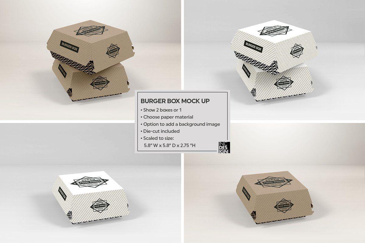 Burger Box Packaging Mockup In 2020 Packaging Mockup Burger Box Food Box Packaging