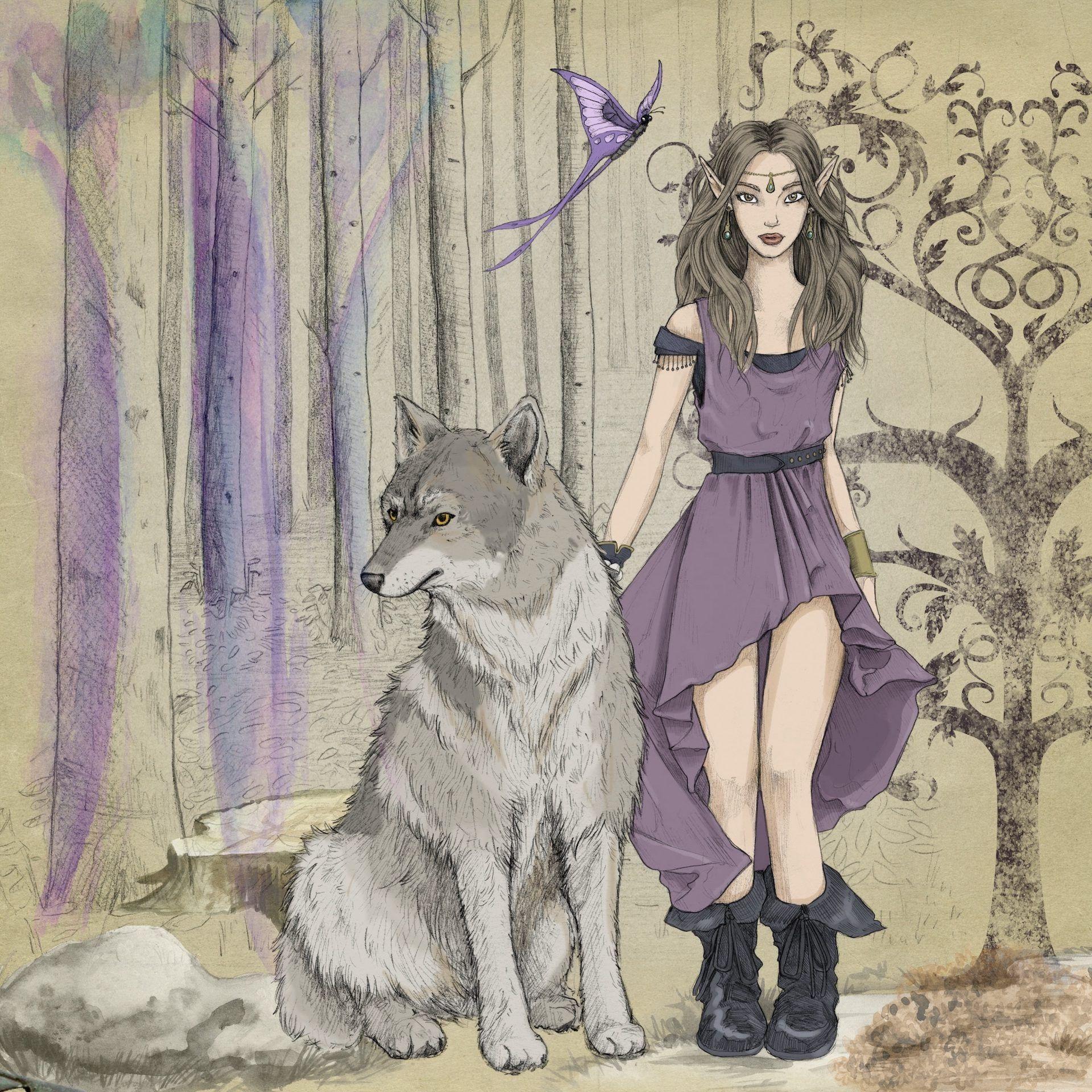 hada elfa cuento lobo chica fábula