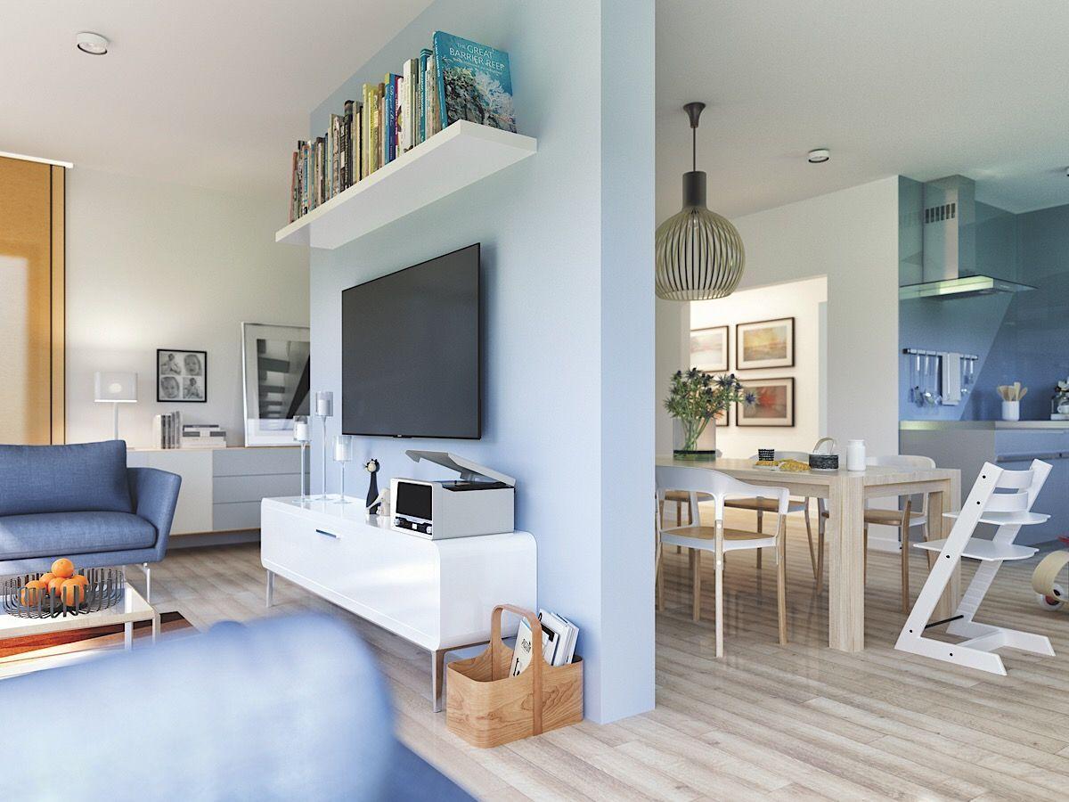 Wohnzimmer & Esszimmer modern mit Raumteiler - Haus einrichten