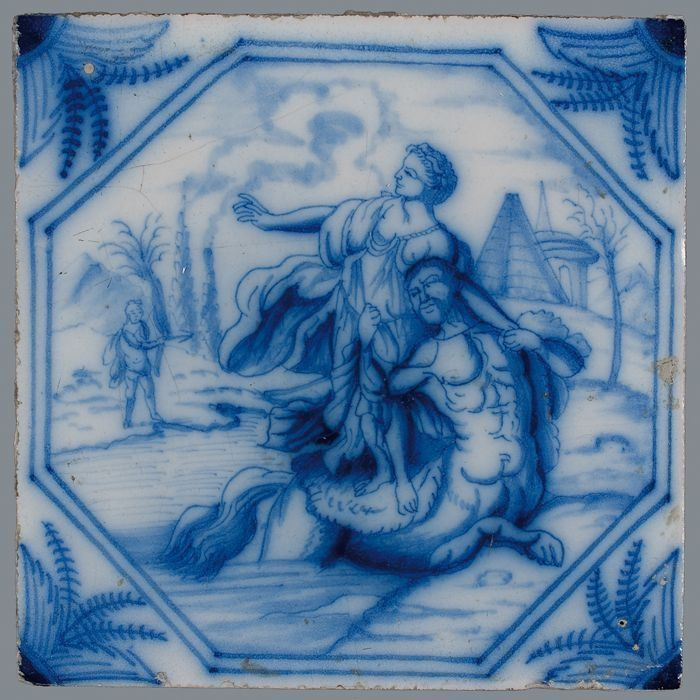 Tile with mythological scene [...] by Atelier Aalmis, 1740-1780. Museum Rotterdam, CC BY