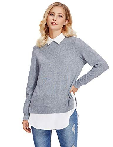 Modern und elegant in der Mode Entdecken Sie die neuesten Trends authentisch ROMWE Damen 2-in-1 Langarm Bluse mit Kontrastfarbe Herbst ...