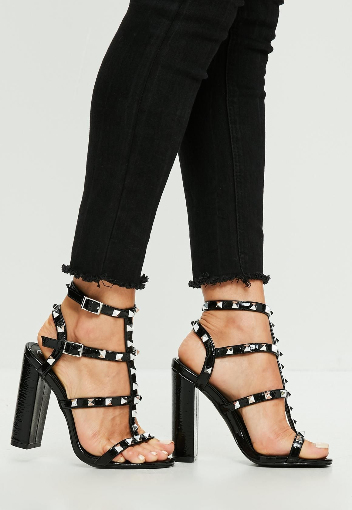 321bd6f91 Missguided - Black Vinyl Stud Gladiator Sandals