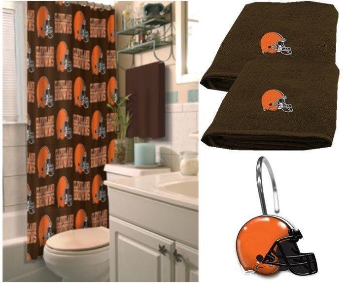 Cleveland Browns Nfl Deluxe Bath Set At Sportsfansplus Com Brown Shower Curtain Shower Curtains Walmart Brown