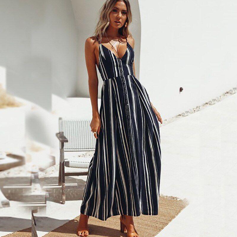 Women Dress Striped Backless Sleeveless Spaghetti Straps Summer Holiday Dresses