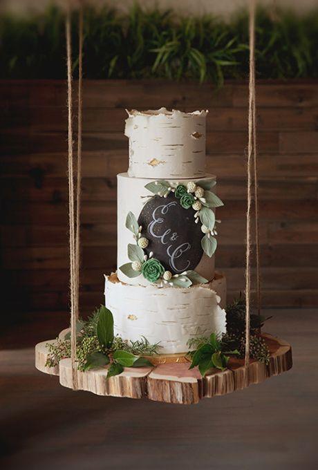 Rustic Birch Wood Inspired Wedding Cake | Brides.com