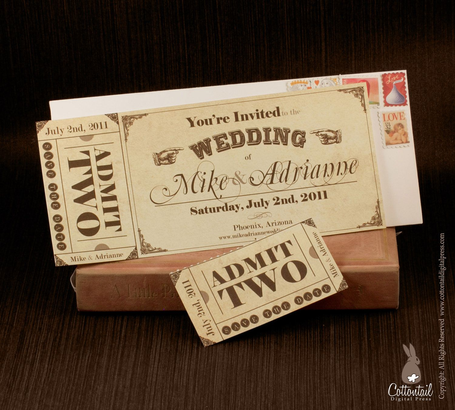 vintage ticket save the date or wedding invitation set free