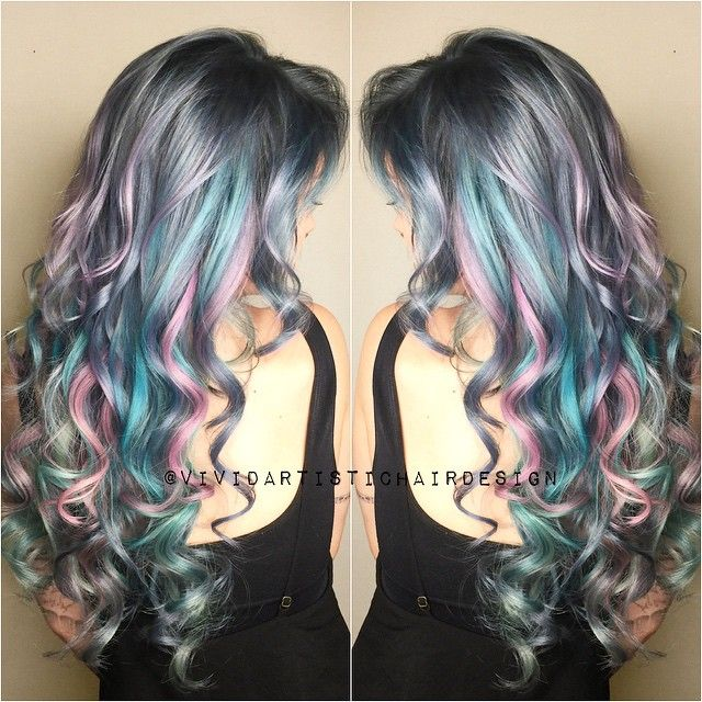 Curly Silver Hair With Pink Purple And Blue Highlights Ig