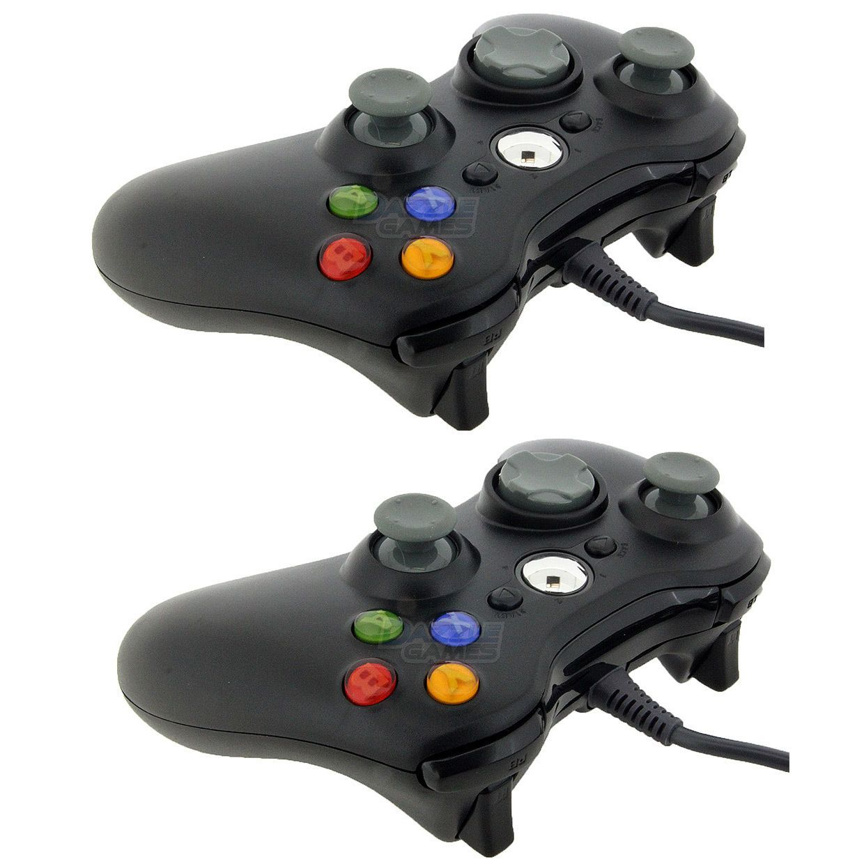 2x New Black Wired USB Game Pad Controller For Microsoft Xbox 360 PC ...