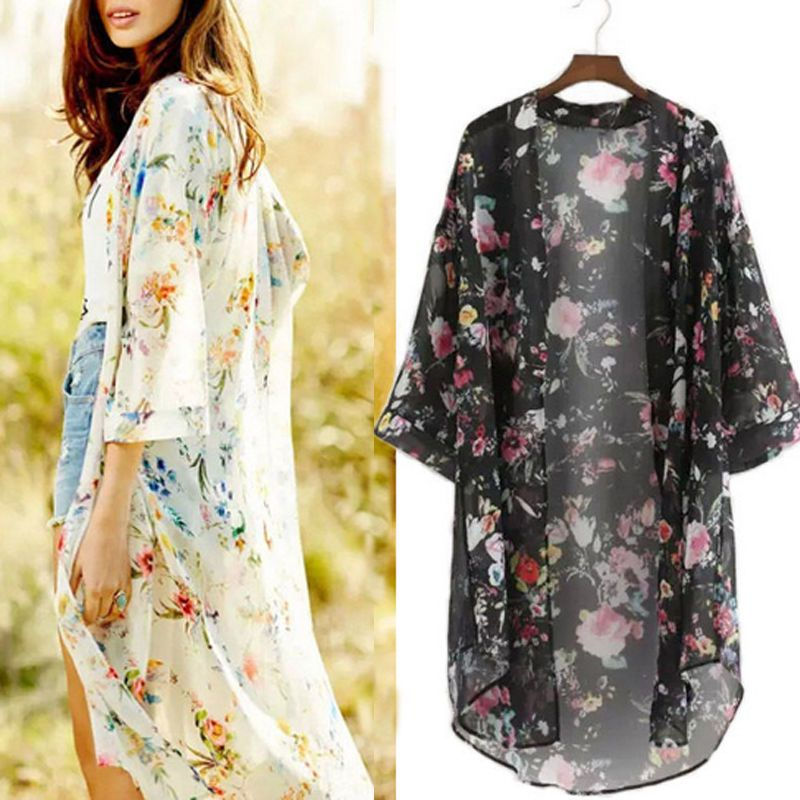 Women Floral Chiffon Long Sleeve Kimono Coat Summer Beach ...