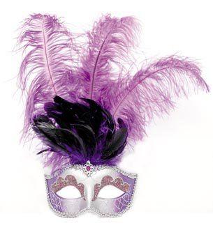 sélectionner pour le dédouanement profiter de gros rabais chaussures élégantes Masque vénitien avec une longue plume, violet: Amazon.fr ...