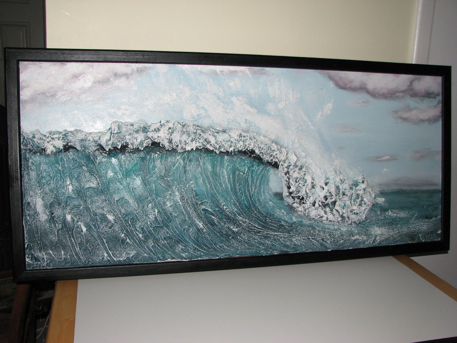 Completed hand painted and custom framed wave sculpture for Plaster wall art