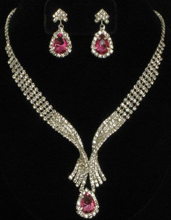 Necklace with Earrings with Pink & Clear Rhinestones