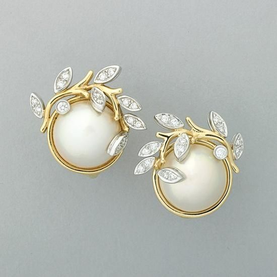 Garland Mabe Pearl Diamond Earrings
