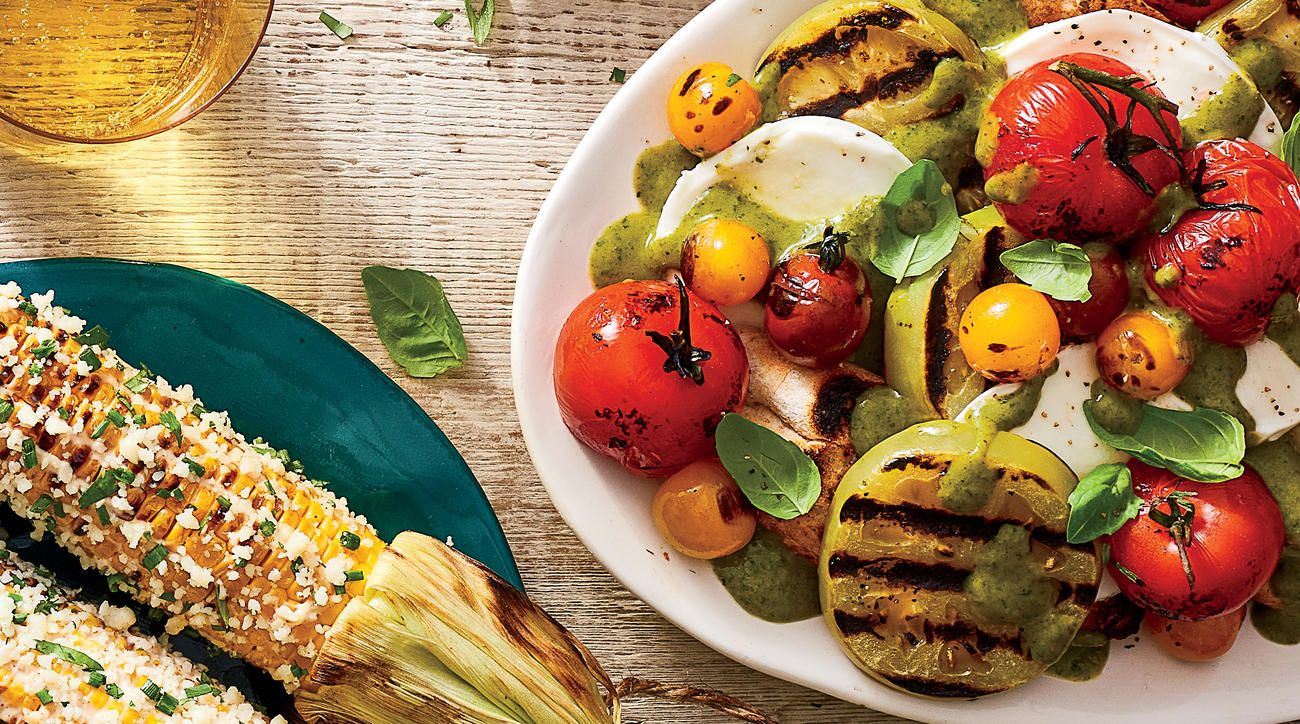 Grilled Tomato Salad with Creamy Basil Dressing   Creamy basil ...