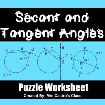 Geometry Circle Theorems: Secant and Tangent Angles - Puzzle