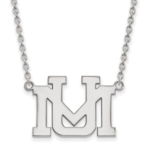 925 Sterling Silver Rhodium-plated Laser-cut West Virginia University Large Pendant w//Necklace 18