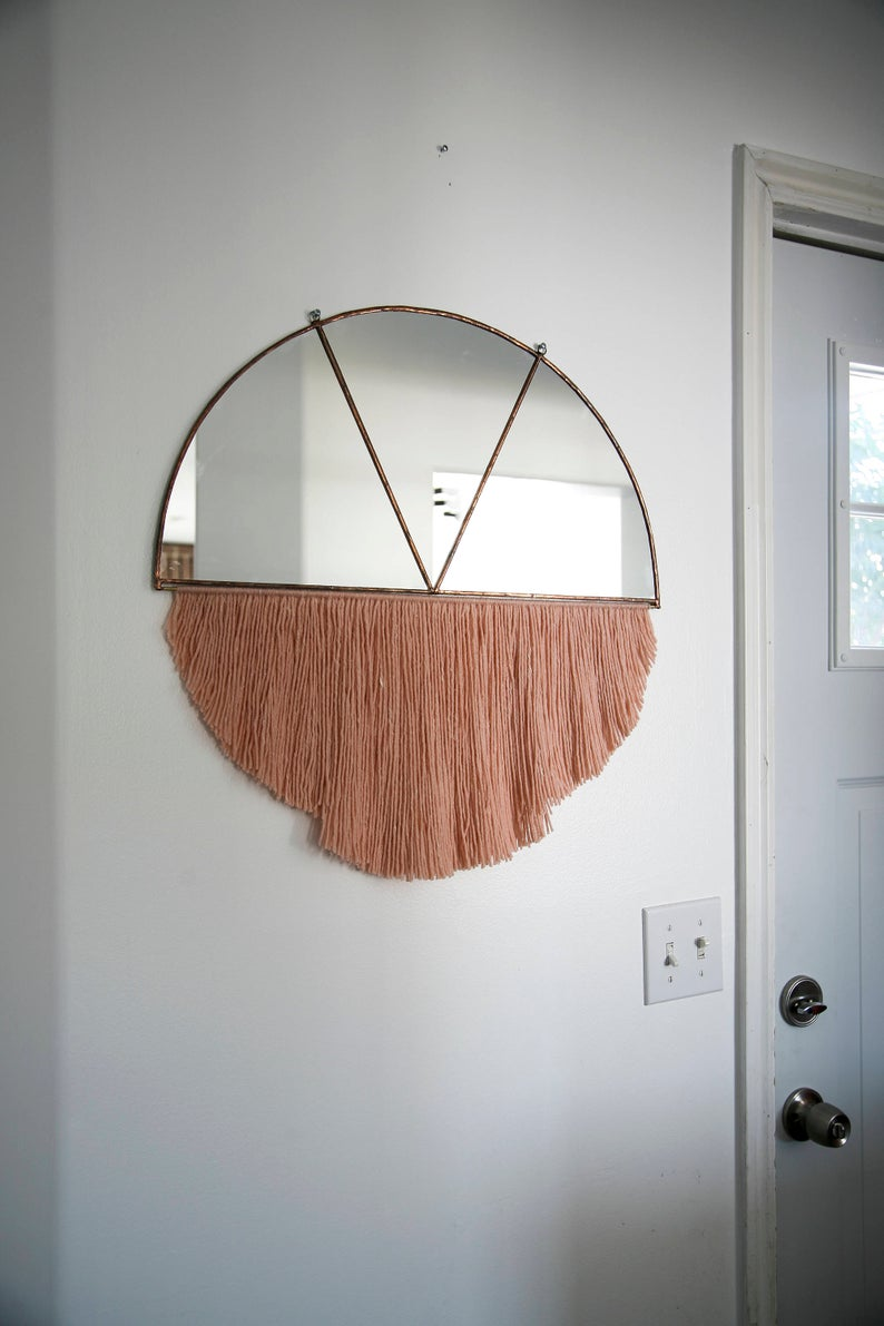 Stained Glass Half Circle Mirror With Fringe Mirror Wall Etsy Trending Decor Circle Mirror Fall Decor