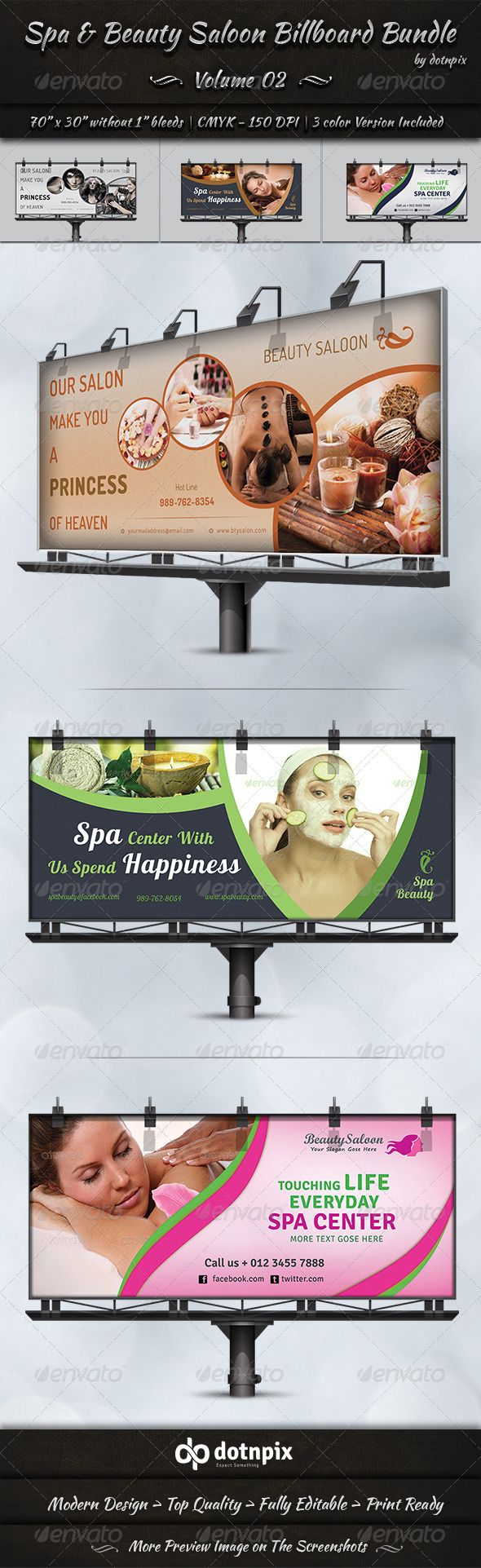 Spa & Beauty Saloon Billboard Bundle is a designed for Any types of companies. I...