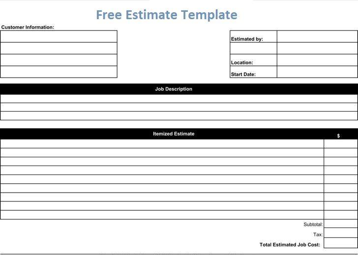 Free Estimate Template Business Management Pinterest Project