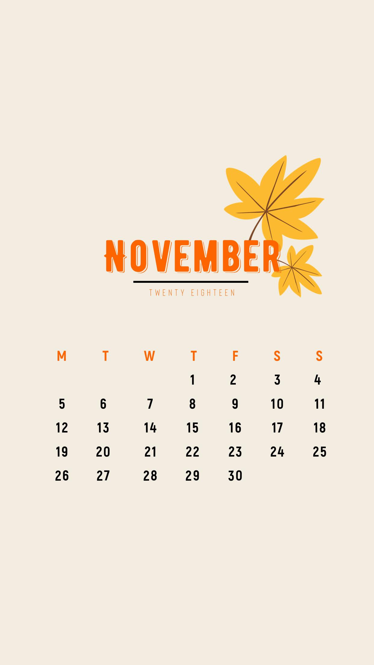 minimal November 2018 calendar wallpaper iPhone (maple