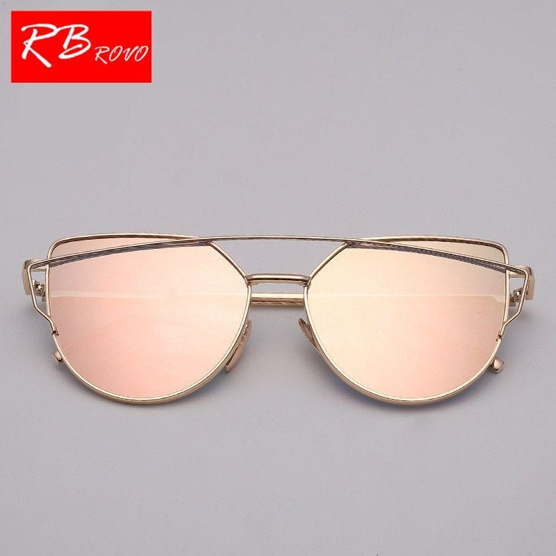 089e05088b8b6 RBROVO New Brand Designer Cateye Sunglasses Women Vintage Metal Glasses For  Women Mirror Retro Lunette De Soleil Femme UV400