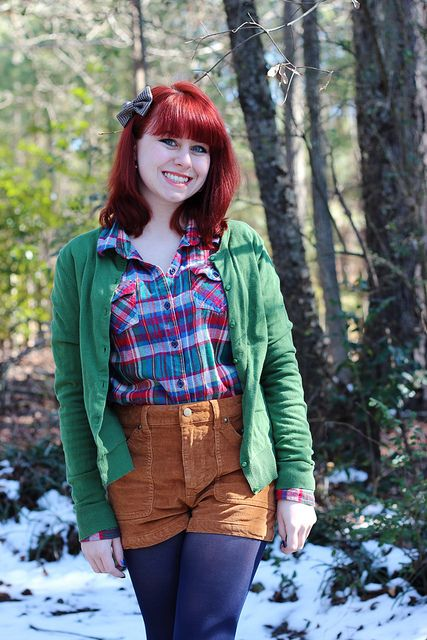 Colorful Plaid Shirt, Green Cardigan, Corduroy Shorts, & Burgundy Ankle Boots
