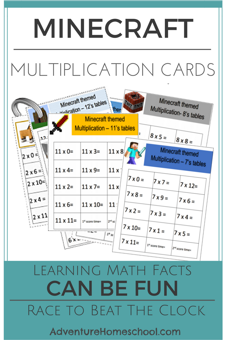 Minecraft Multiplication Cards - FREE Math Drill Racing Activity ...