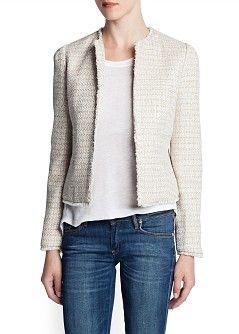 Frayed edge bouclé jacket - Jackets - Women - OUTLET