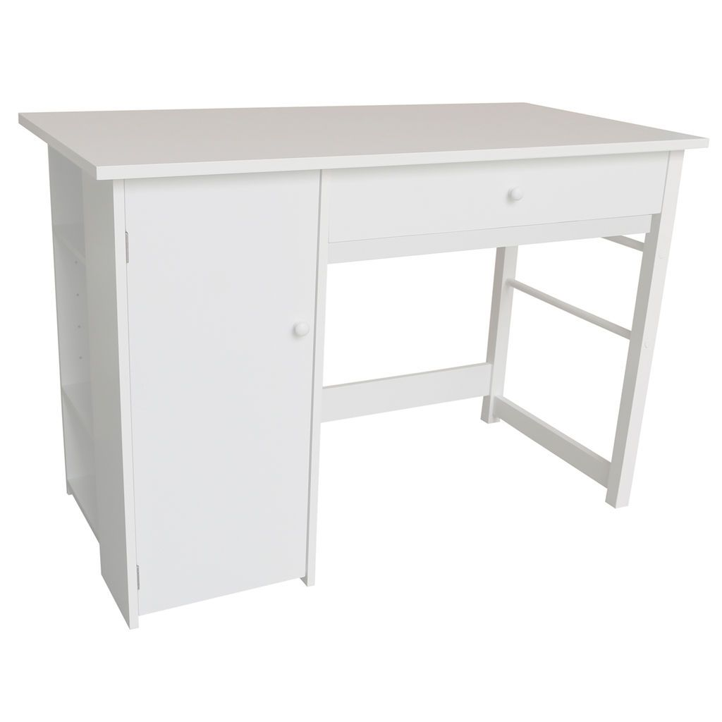 Get More Out Of Your Workspace With The Convenience Of This Craft Desk Featuring A Drawer Shelves And Additional Storage Craft Desk Desk Storage Desk Shelves