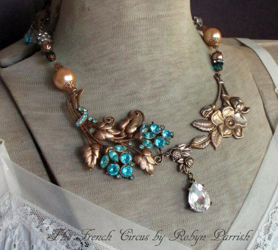 BLUE BAYOU vintage assemblage necklace with by TheFrenchCircus