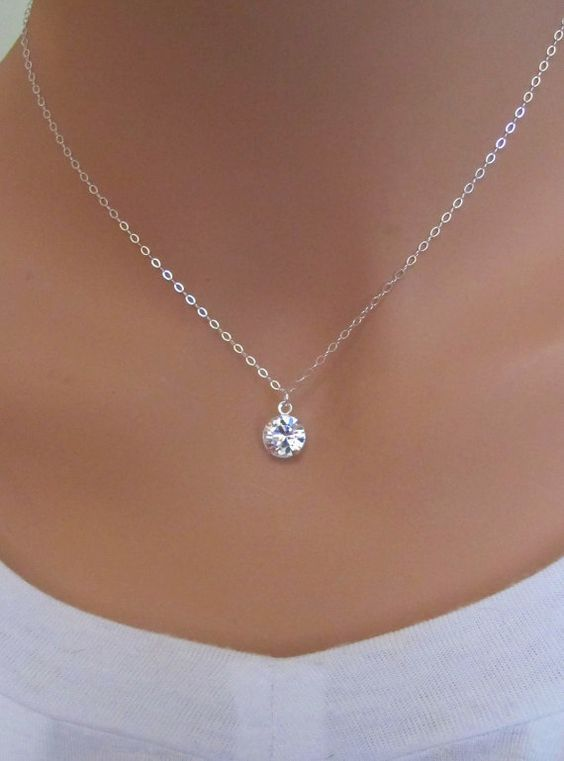 Clear Swarovski Drop Sterling Silver Necklace By