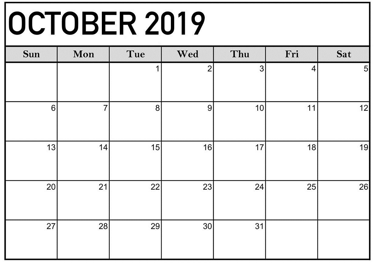 The Surprising October 2019 Calendar Printable Word Template
