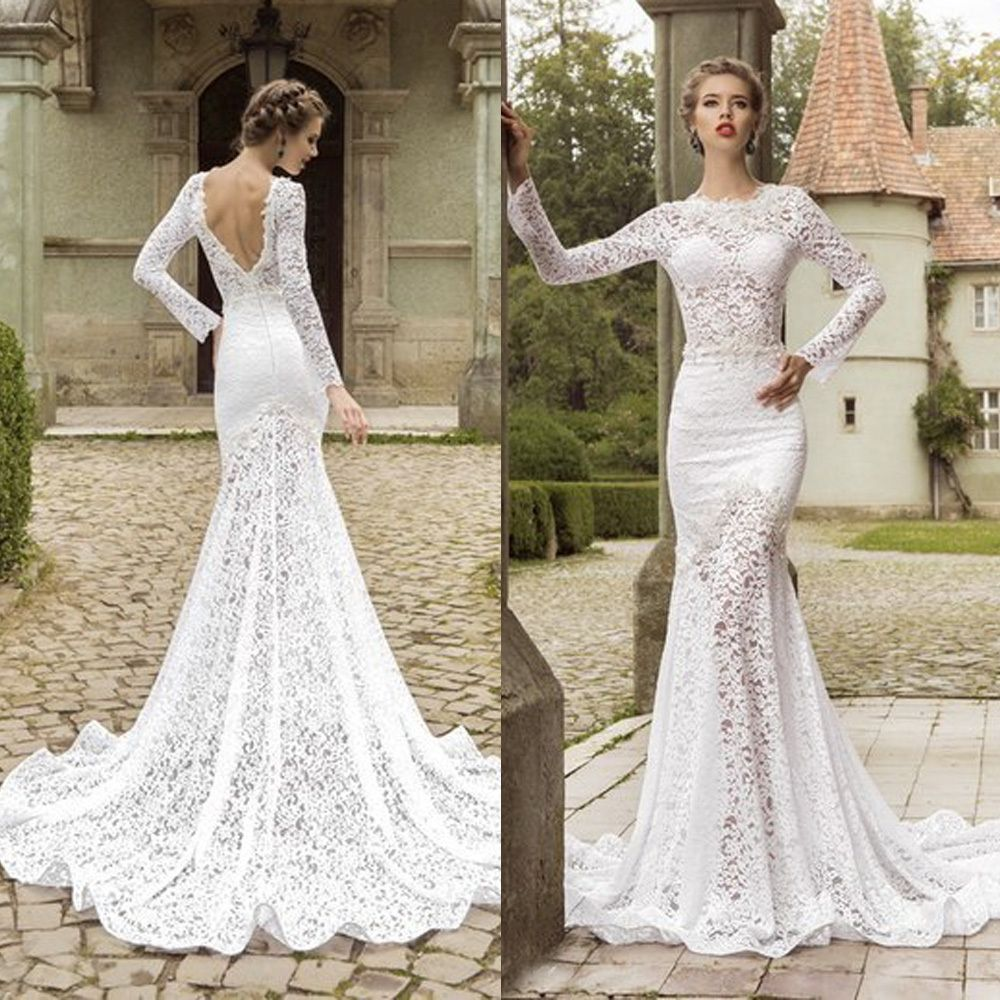 Country western open back wedding dress mermaid vestido de for Long sleeve lace wedding dresses